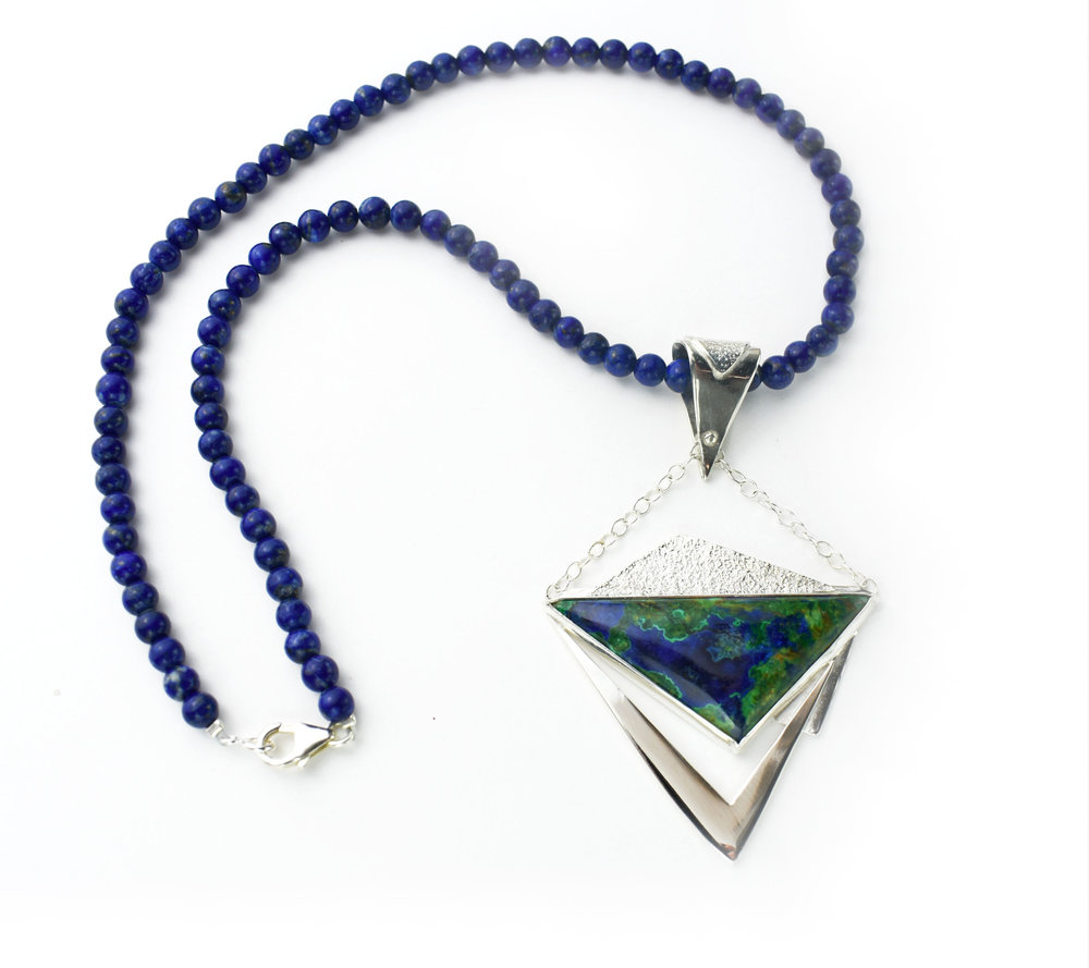 Azurite Malachite SS Pendant on SS Chain and Lapis Beads.jpg