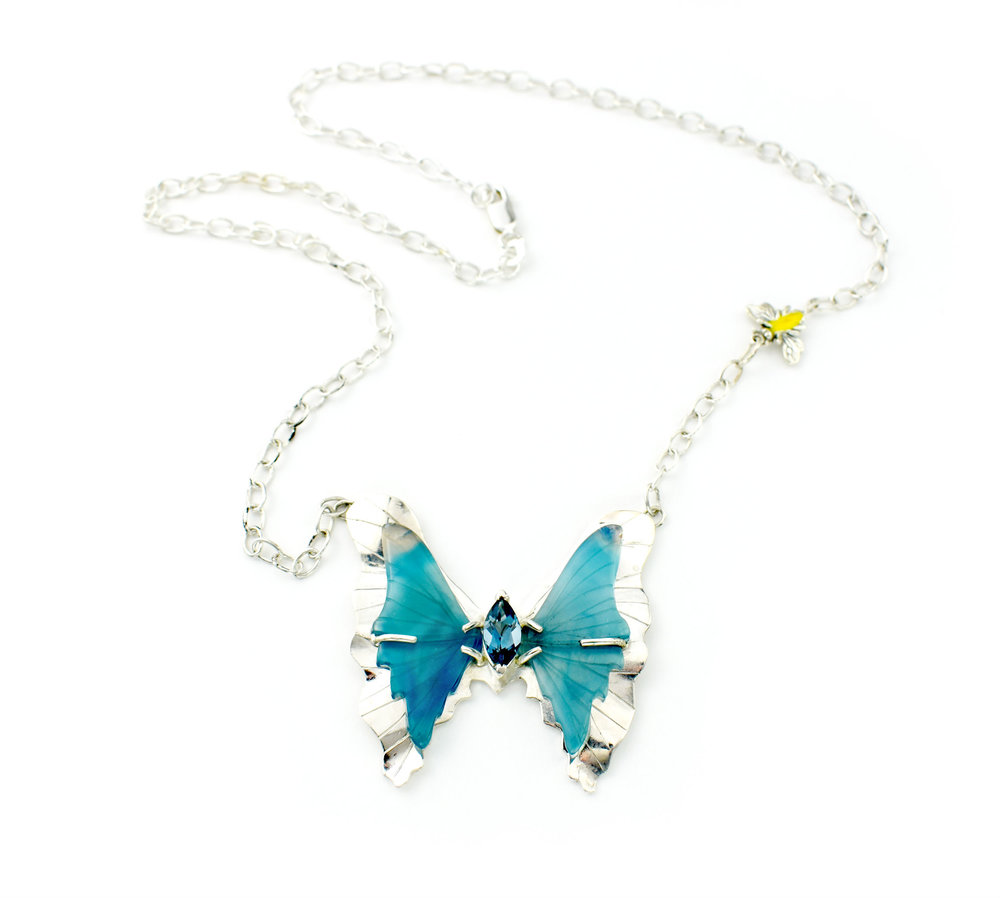 SS Blue Agate and London Blue Topaz Butterfly Necklace with Bee Accent on Adjustable Chain.jpg