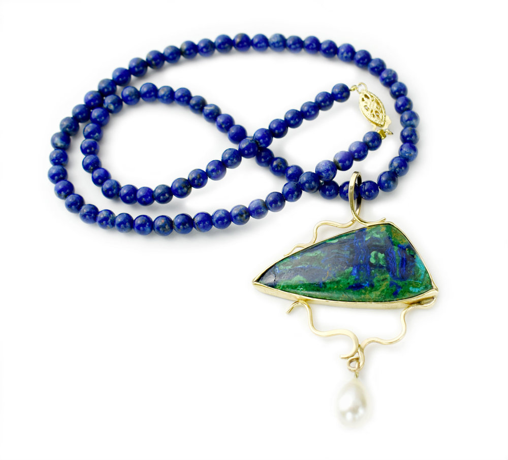 yellow gold Azurite Malacite with pearl pendant on lapis beaded necklace.jpg