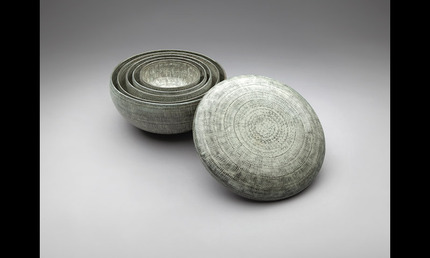 Park Young Sook (b. 1947).     Buncheong Inlaid Bowls with Lid     2000–03     Stoneware with stamped and slip-inlaid decoration    Photography courtesy of SFO Museum  , 2010.310.A-.F.