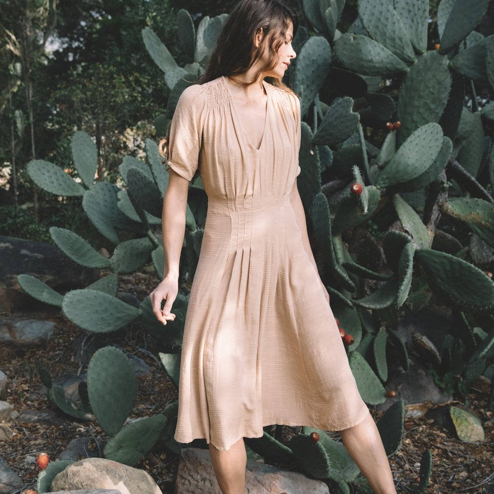 poppy tea dress in dusty peach - SHOP THIS LOOK