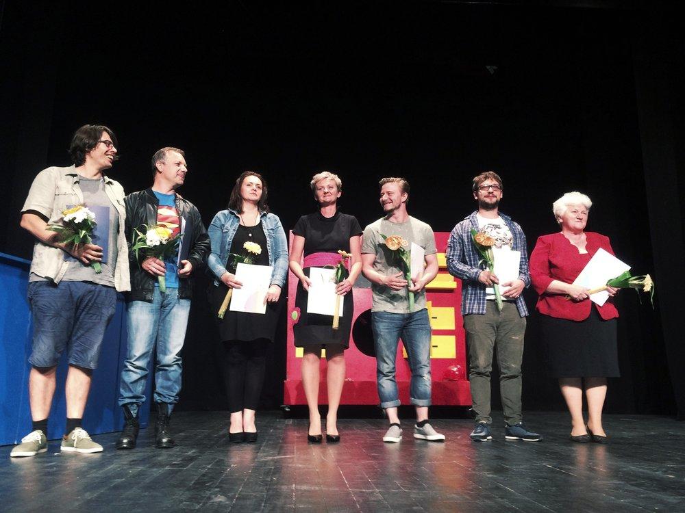 Z leve proti desni: Rok Sanda, Sandi Bradač, Nina Prah, Vesna Pirc, Jure Rajšp, Nejc Jezernik, Ivica Zupančič