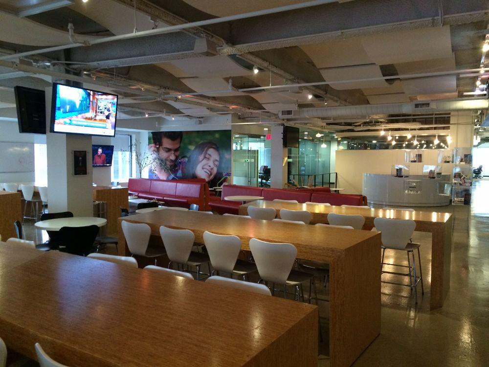 """Audible's """"Cafeteria/Hang Out Area"""", ping-pong tables not pictured."""