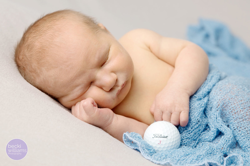NEWBORN PHOTOS - blue wrap   - golf ball - POSED