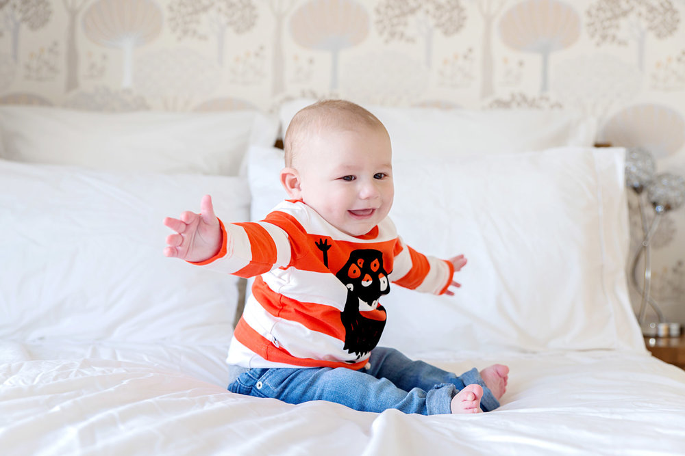 Baby pictures - 8 month old - Harry - big bed - halloween
