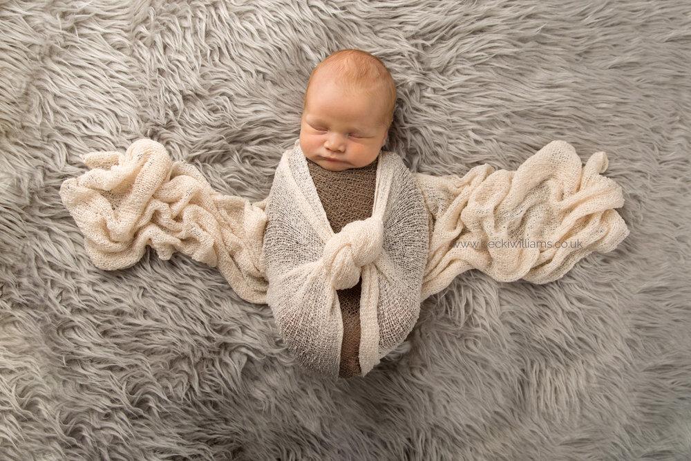 Wrapped sleeping newborn - Becki Williams Photography