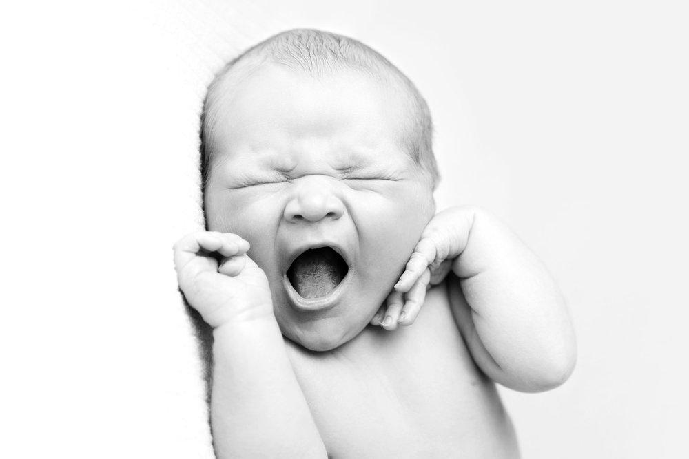 Yawning newborn black and white - Becki Williams Photography