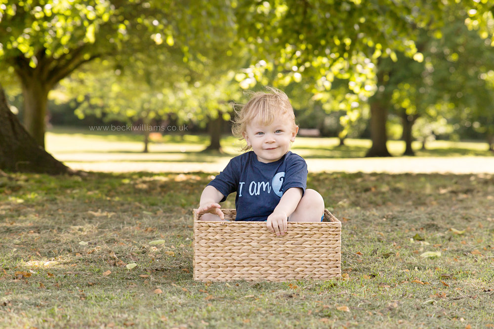 professional baby photography of 2 year old boy playing in a box in gadebridge park, hemel hempstead