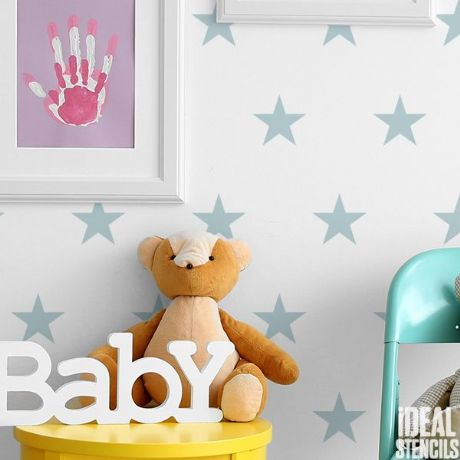 star stencil from idealstencil.co.uk for decorating a colourful nursery
