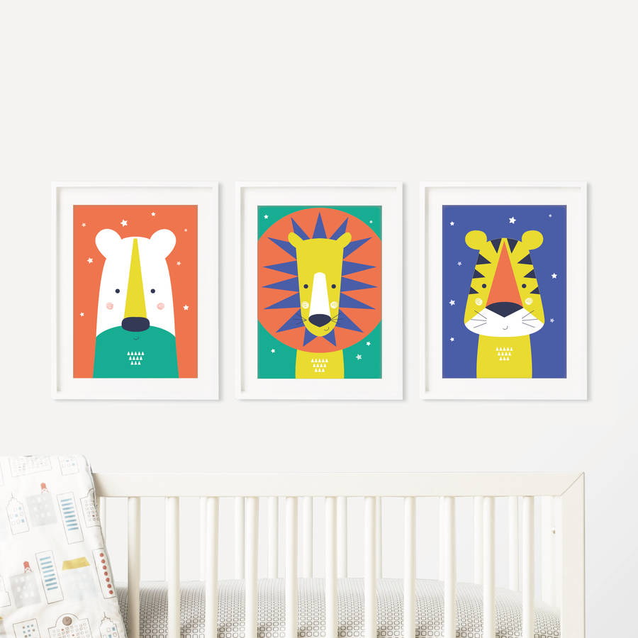 Animal Bright Modern Baby Nursery Wall Art Trio by PAPER JOY