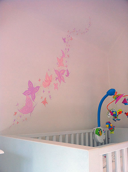 butterfly nursery mural - colourful nursery ideas