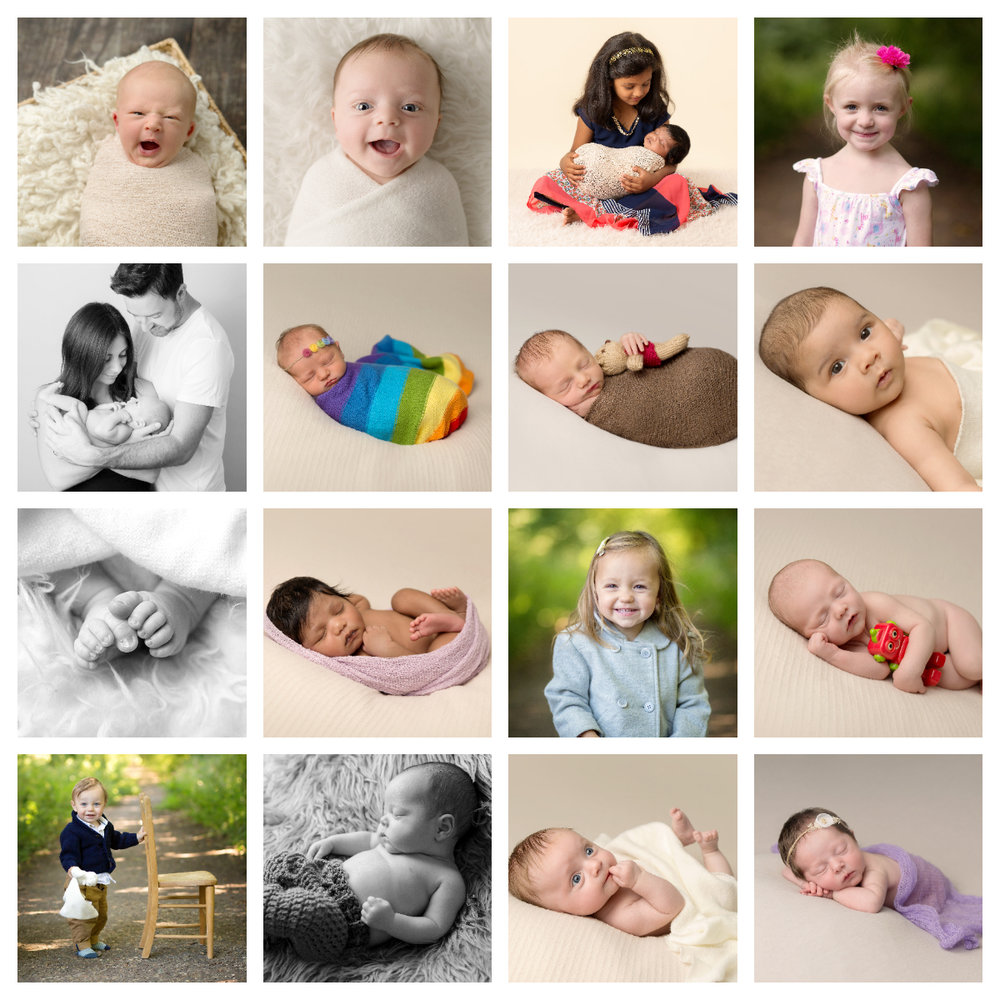 Collage of newborn & baby images by becki williams photography