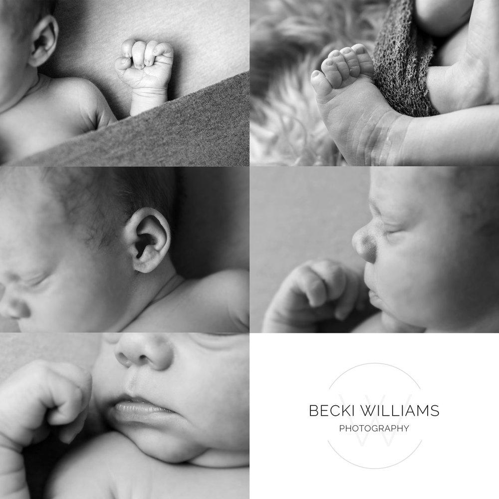 close up of a babies handm toes, ear, nose and lips from a newborn photo shoot in hemel hempstead