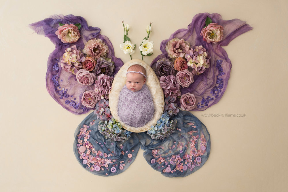 Wrapped, newborn girl on a beautiful butterfly backdrop