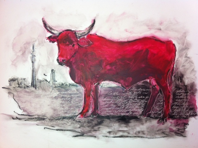 """Red Bull"" by Sarah Britten - Lipstick Art"
