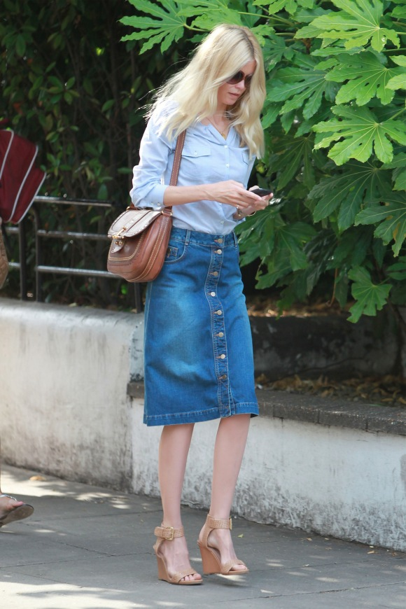 Claudia Schiffer In Stella Mccartney Denim Skirt