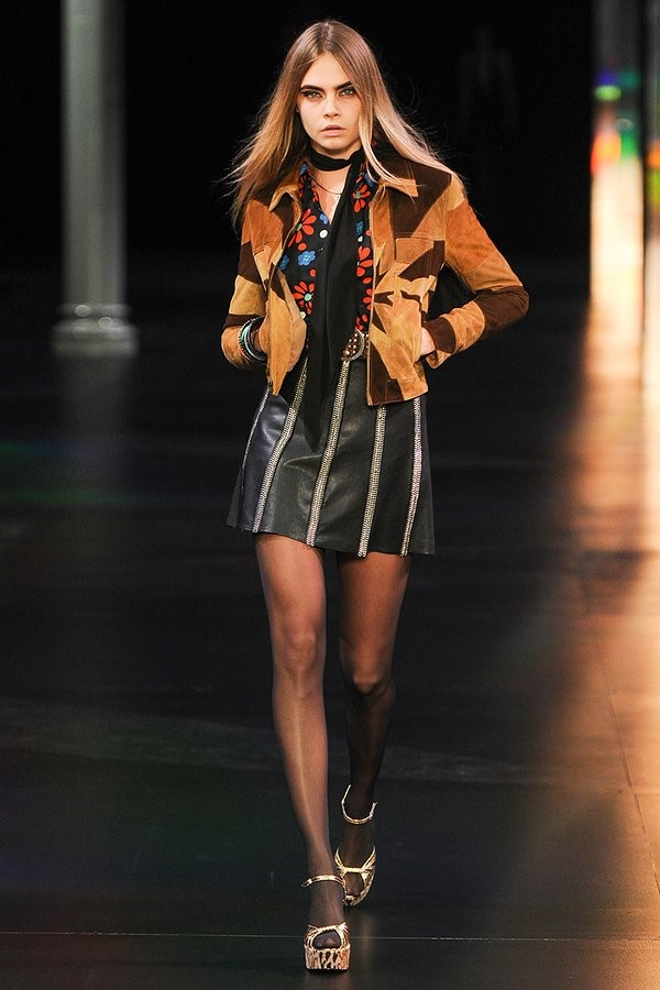 Saint Laurent Spring 2015 The iconic scooter skirt and the mixed neutral color palate