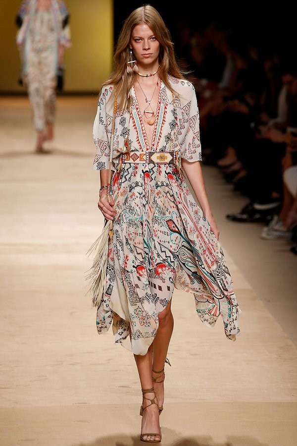 Etro Spring 2015- Plunging necklines and paisley-esque patterns.
