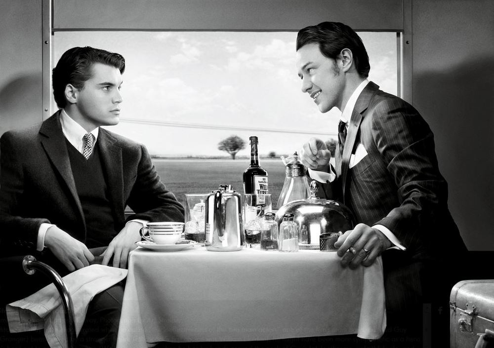 Strangers on a Train, 1951 Emile Hirsch and James McAvoy. Photograph by Art Streiber.