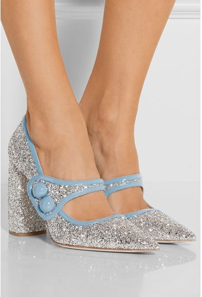 Miu Miu Glittered Patent leather pump