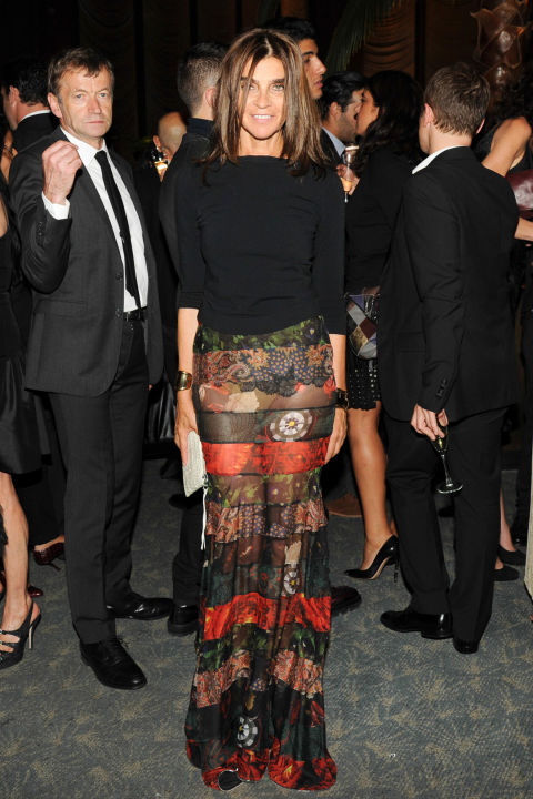 Lots of unexpected fun in an elegant maxi see through skirt like the one rocked by Corine Roitfeld.