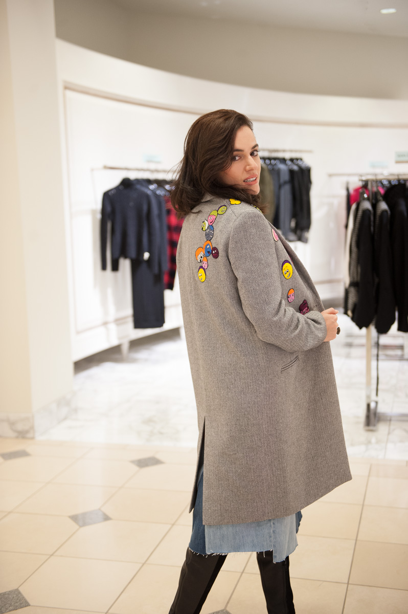 Mira Mikati 'Multi Heads' Patch cotton and wool coat. Photo Lauri Levenfeld.