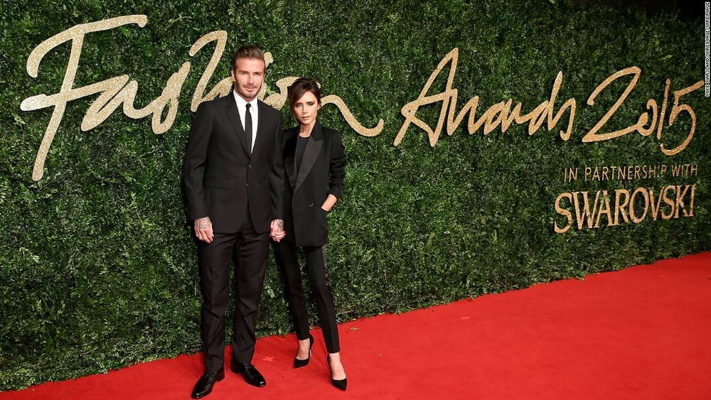 David Beckham and Womenswear designer of the year nominee Victoria Beckham