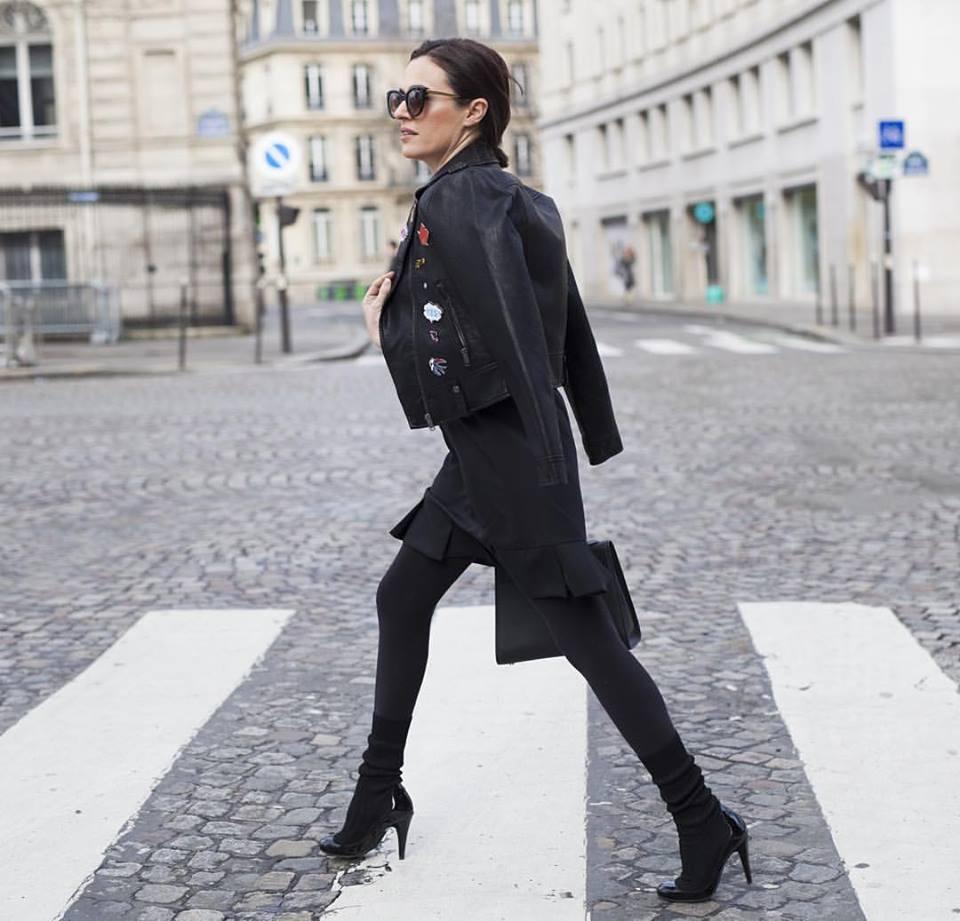 Founder JOLIEGAZETTE, Juliet Belkin wearing Kamila Dmowska dress, Chanel boots, vintage jacket