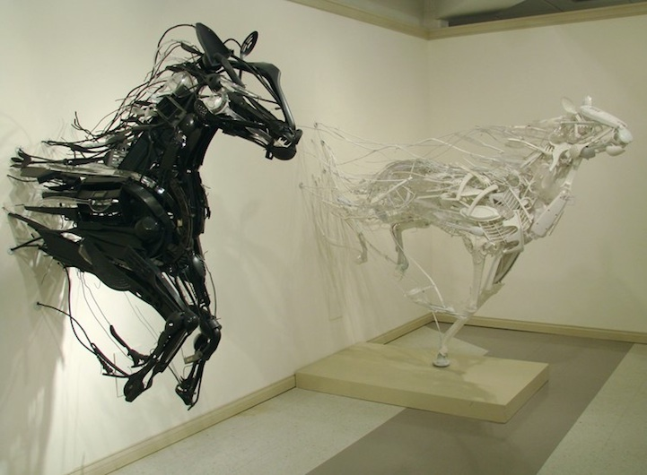 "Sayaka Kajita Ganz created these wild horse sculptures from trash-picked objects like plastic utensils, toys, and metals. She says, ""By building these sculptures I try to understand the human relationships that surround me. It is a way for me to contemplate and remind myself that even if there is conflict right now, there is a way for all the pieces to fit together."""