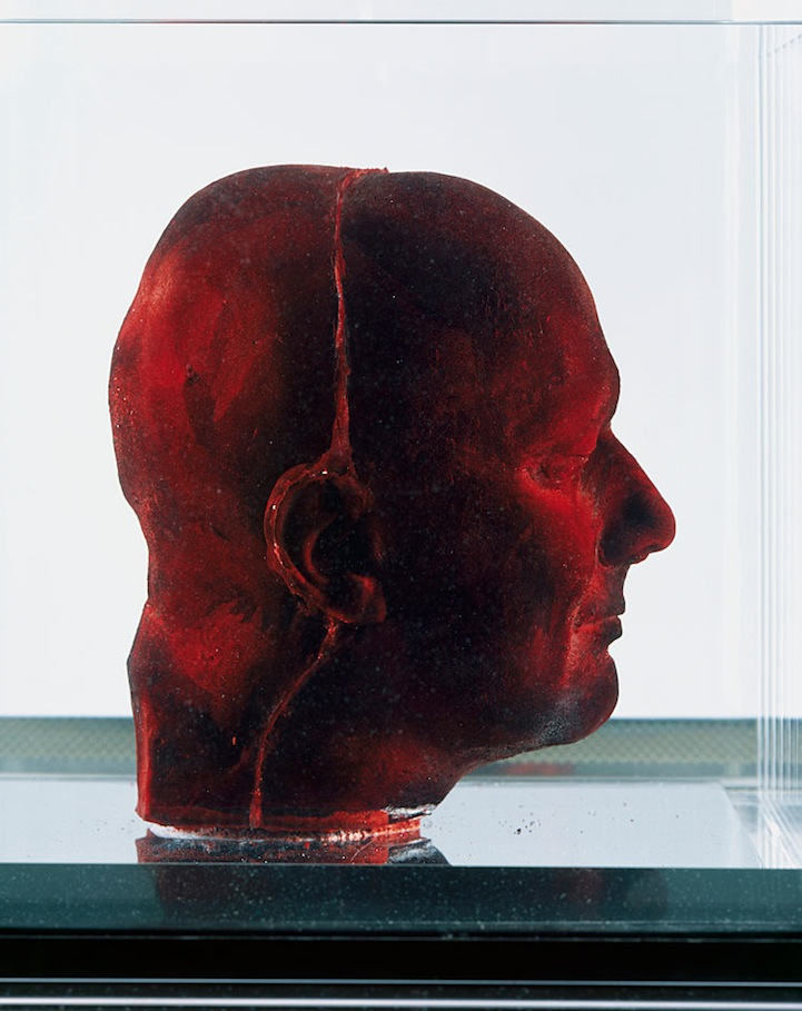 Marc Quinn's   Self is a reproduction of the British artist's head composed of nine pints of his own frozen blood. It's Quinn's signature piece in the art world and it took him over a period of 5 months to complete. Can you say bloody brilliant?