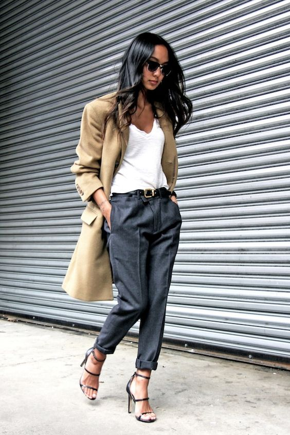 A Sophisticated Coat & White Tee