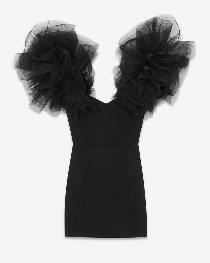 shop Saint Laurent layered shoulder mini dress