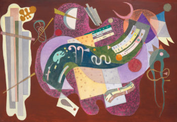 Wassily Kandinsky,  Rigide et courbé , 1935, oil and sand on canvas. Estimate: $18 million-$25 million; realized: $23.3 million.  CHRISTIE'S IMAGES LTD., 2016