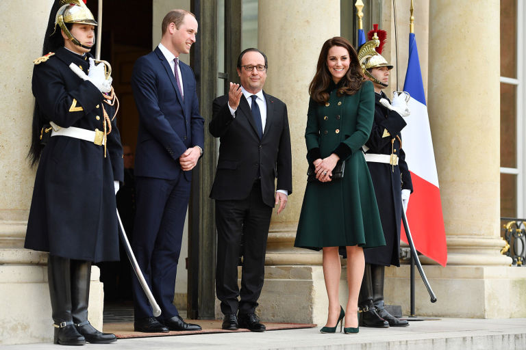 Getty. William, Hollande and Middleton at the Elysee Palace.