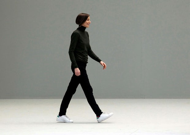 Phoebe Philo  after the AW11/12 Céline show, wearing her famous Stan Smiths. Photograph: Eric Ryan/Getty Images