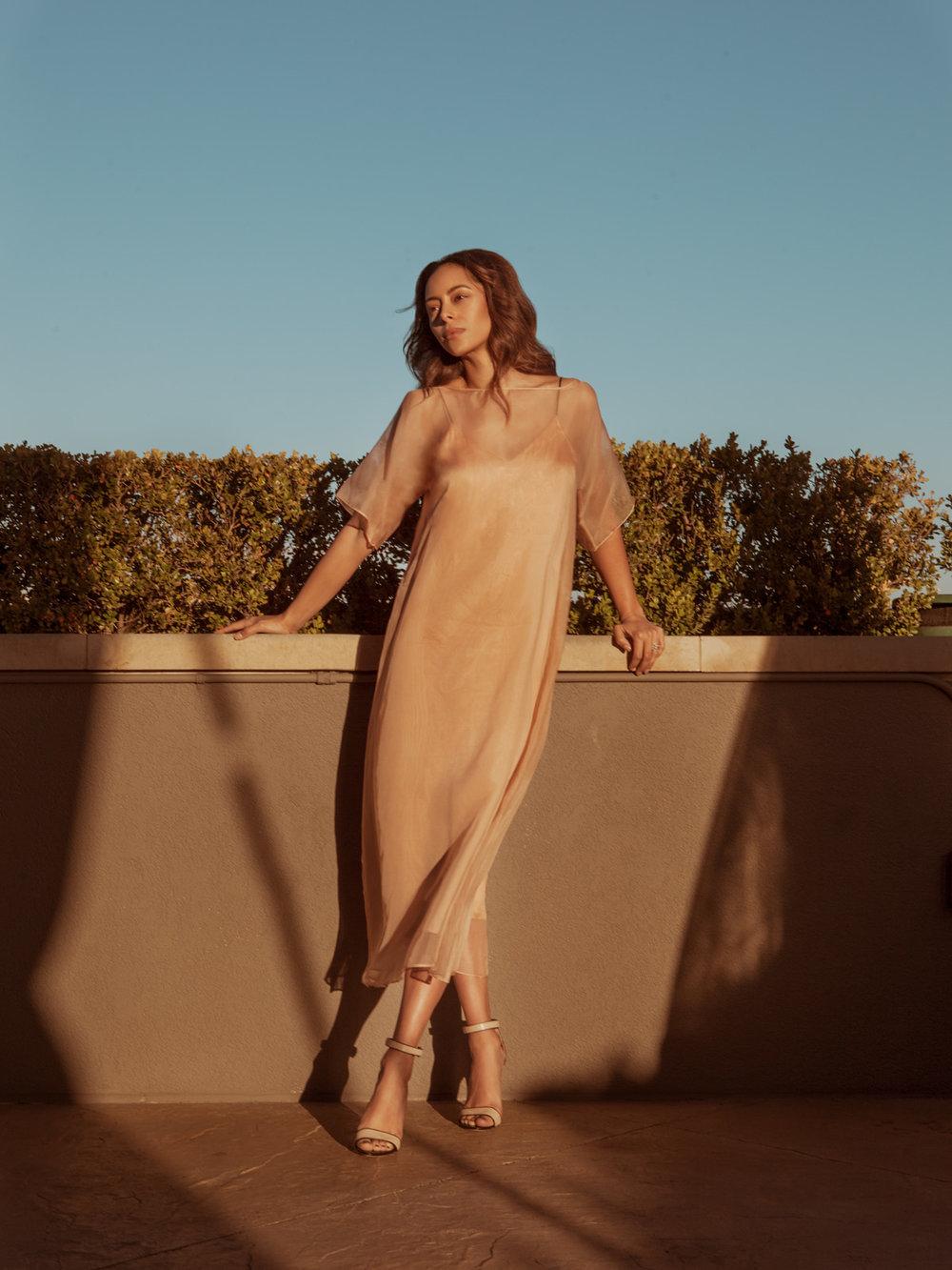 On Amber dress by  Kamperett,  shoes by  Club Monaco