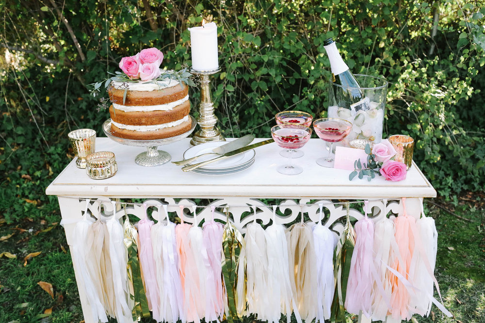garden party bridal shower dessert table