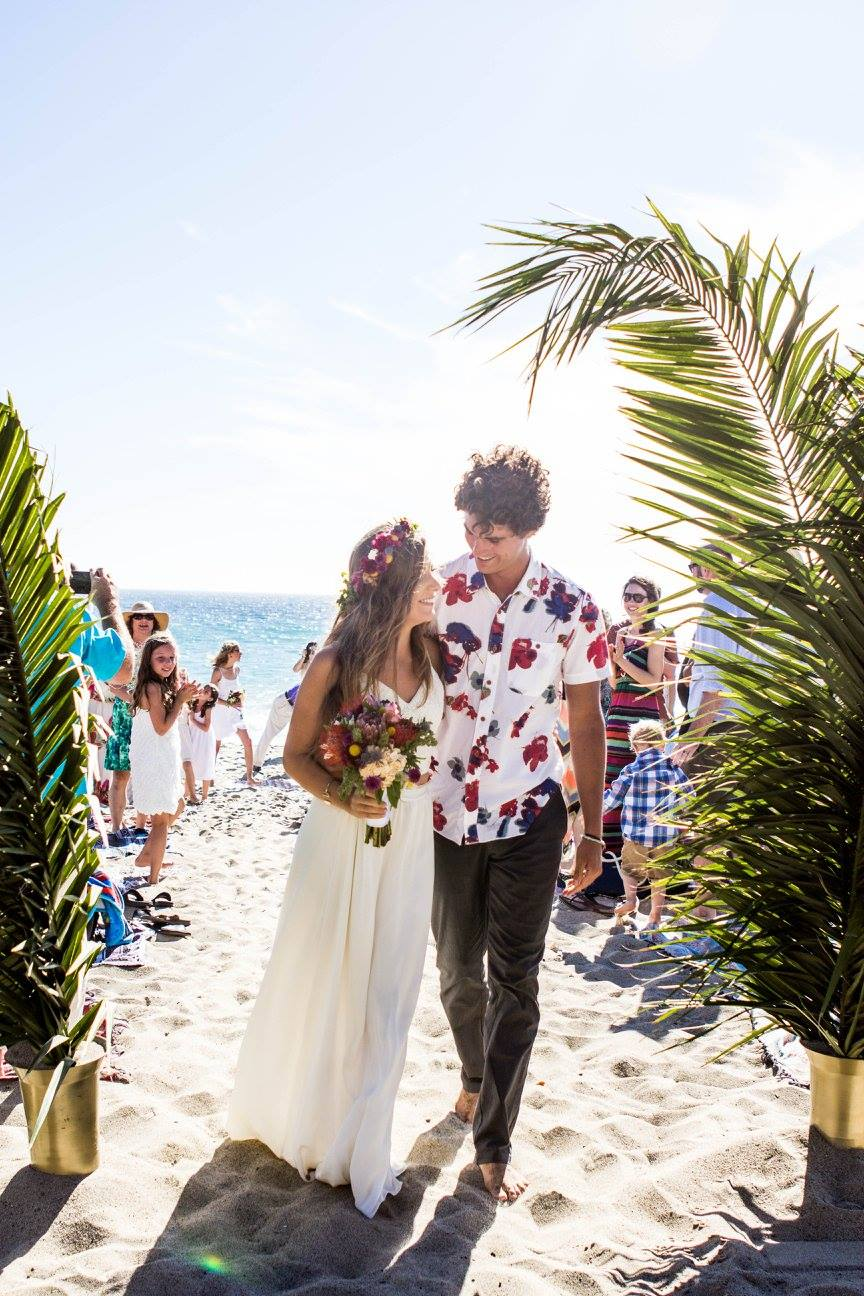 bride groom boho beach wedding