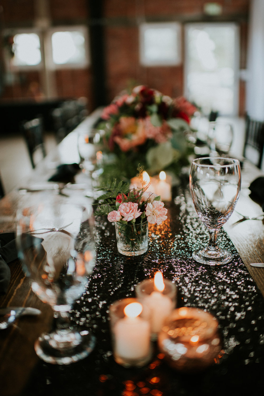 black sequin romantic reception table