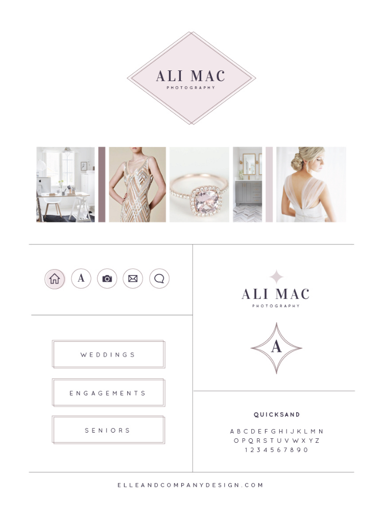 Ali Mac Photography Branding Board. Brand and website designed by Elle & Company