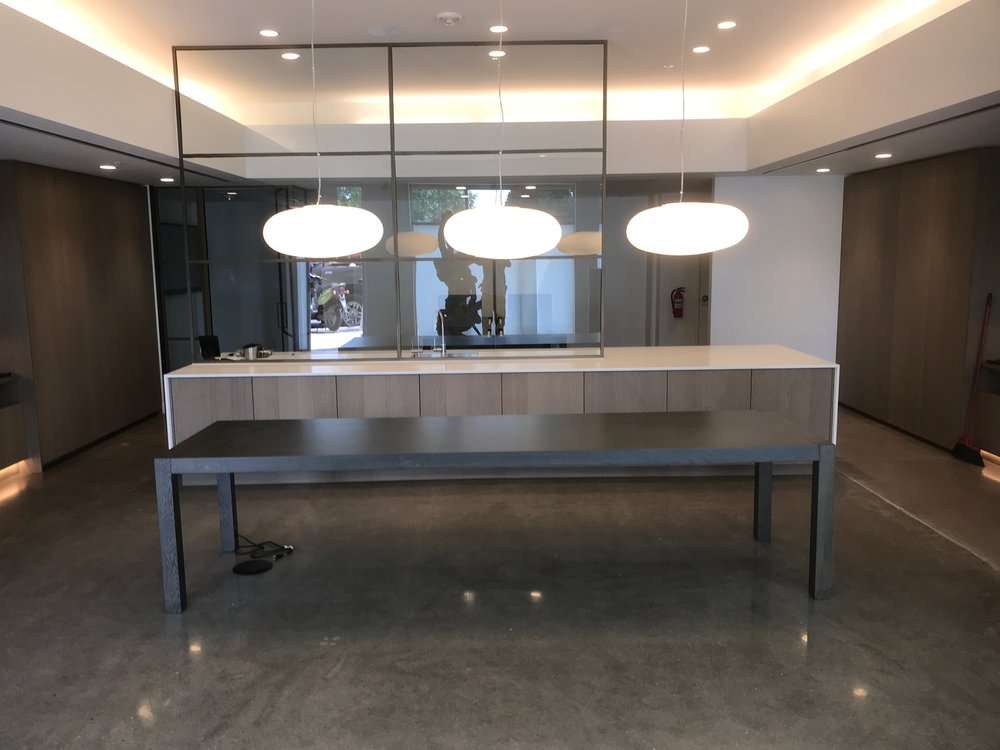 A commission for Mile Hi Modern real estate group:  A conference table for the main room of their new offices, as well as two large table work stations for the rear of the offices. Simple & elegant.