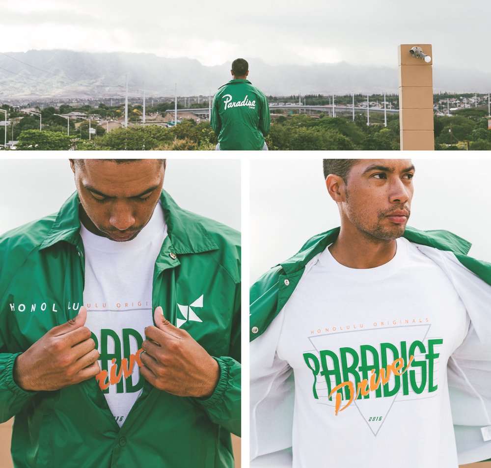 First up is our Honolulu Originals Collection. The Honolulu Originals design is inspired by retro UH color ways. Growing up we've seen these colors at UH and of course we attach them with pride. The tees include our Honolulu Originals graphic on the front along with our tri-logo located in the back. Graphic tees will be available in black and white. Along with the tees we will also be releasing a coaches jacket. A true fitting piece for a UH sporting event. The jacket includes our Paradise Script across the back.
