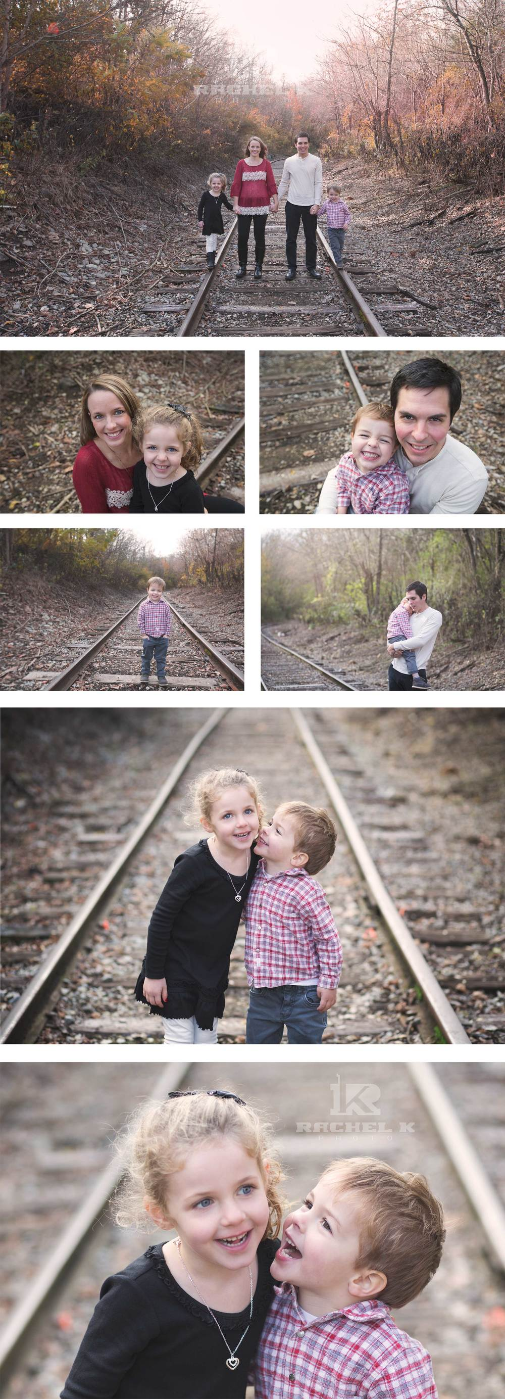 Family photos on old train tracks