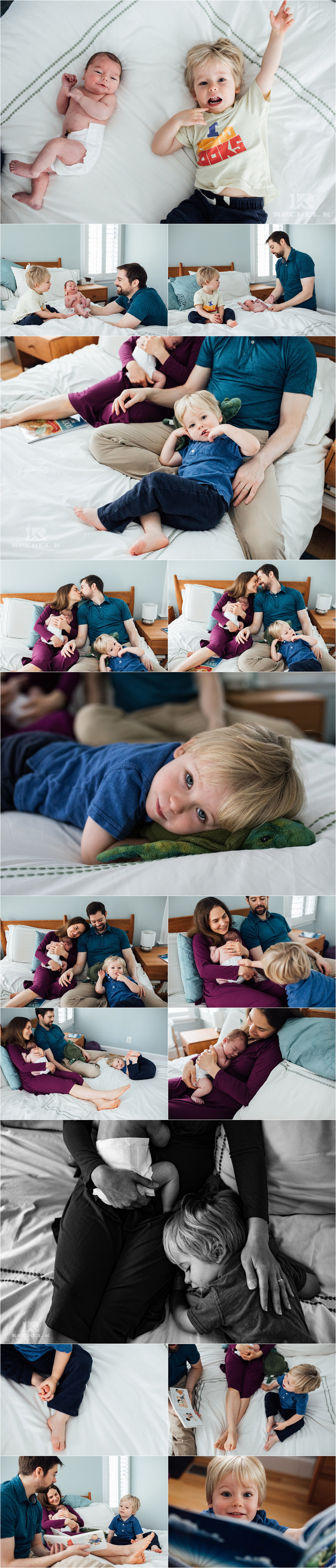 Fairfax Virginia lifestyle newborn session with big brother by Rachel K Photo