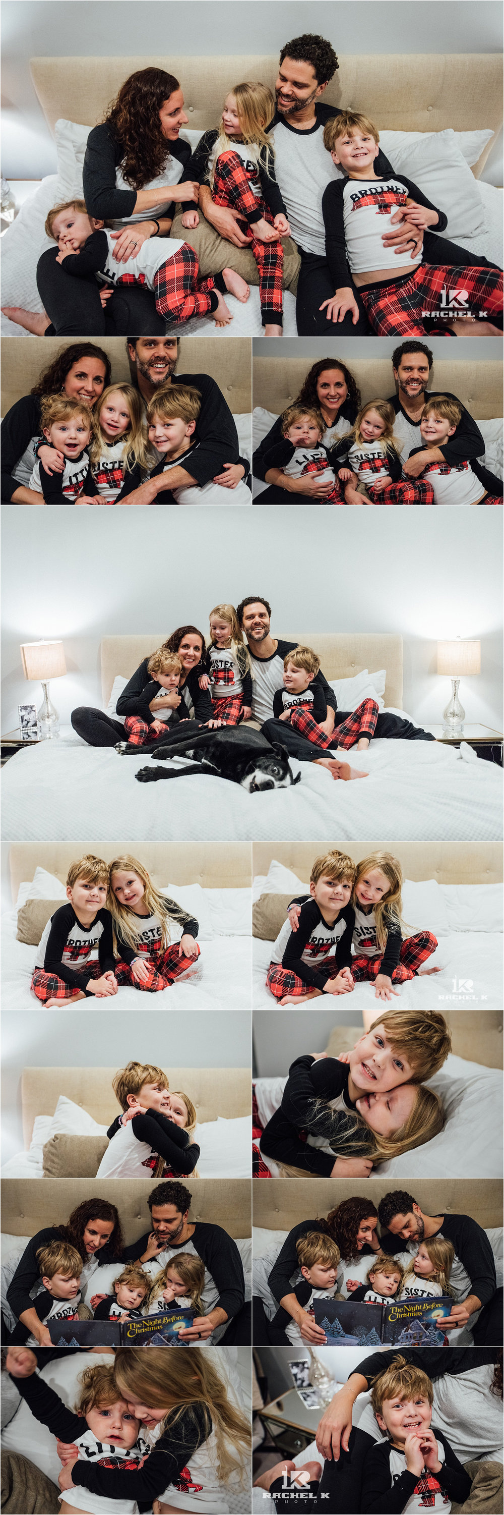 Christmas jammies family session in Arlington Virginia by Rachel K Photo