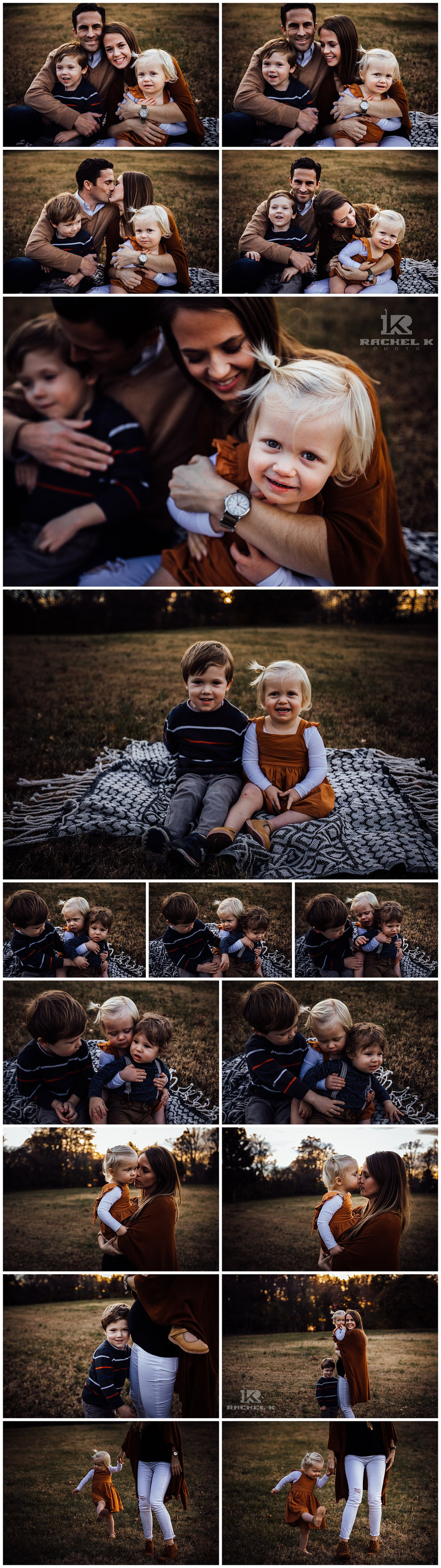 Winter family session with two kids in sunlit field by Rachel K Photo