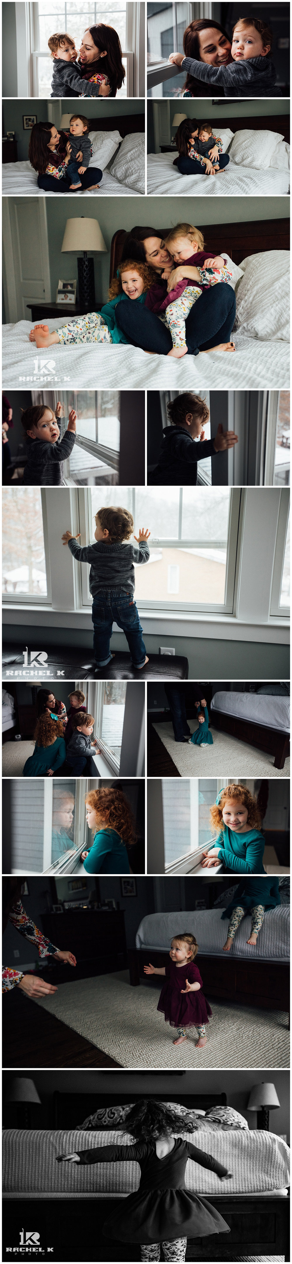 winter indoor family session with twins by Centreville Virginia photographer Rachel K Photo