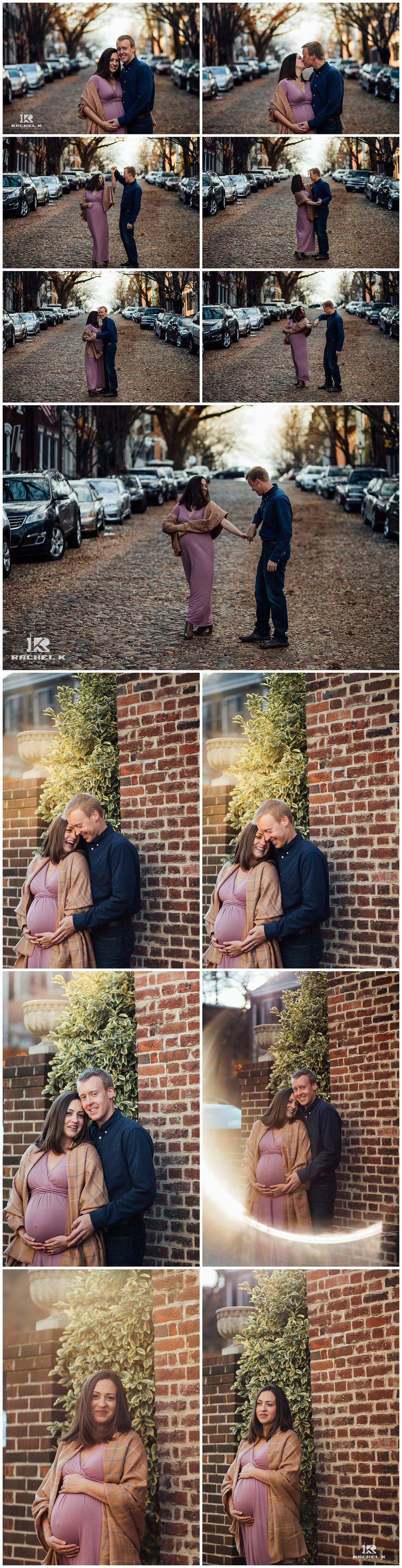 Winter Old Town Alexandria maternity session by Rachel K Photo