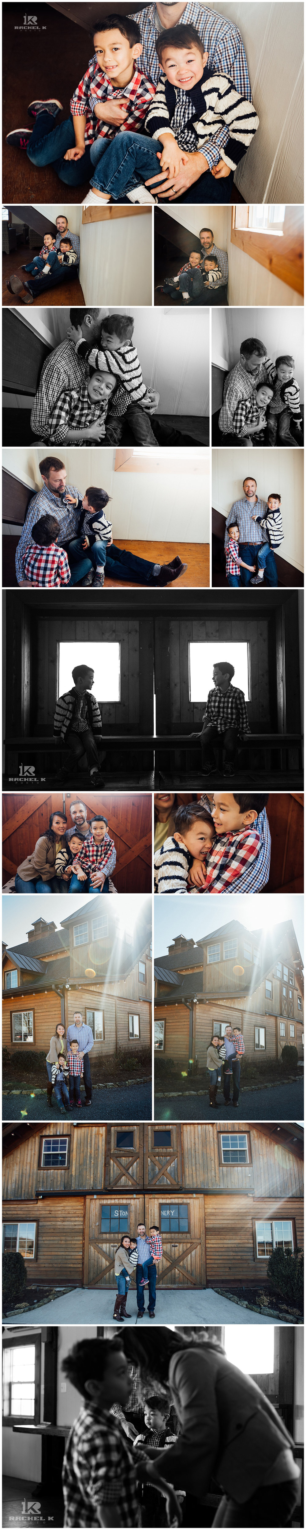 Winter Indoor family session with two boys at Stone Tower Winery in Loudon Va by Rachel K Photo