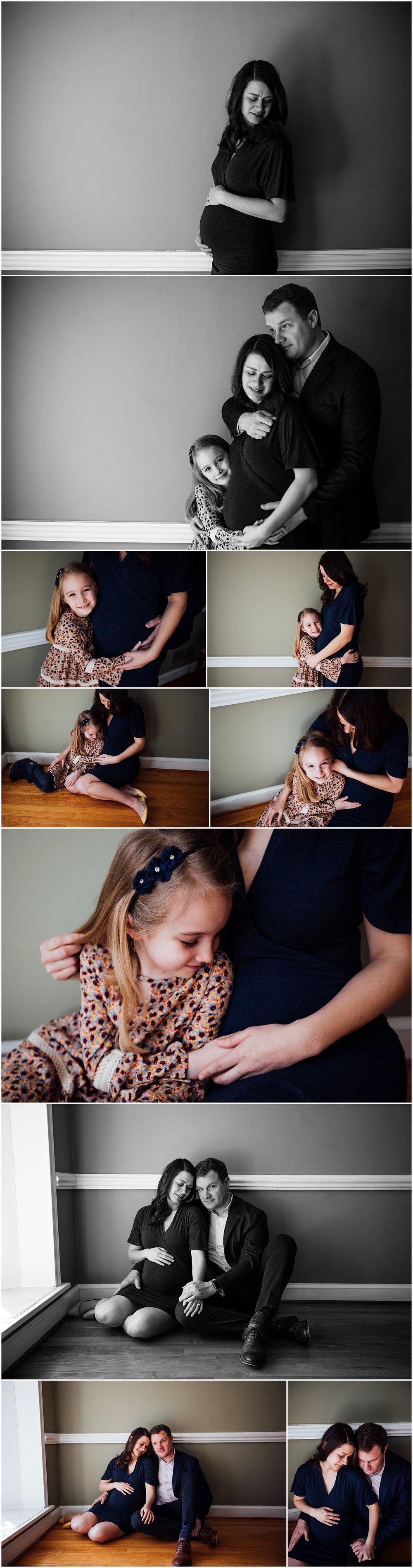 Indoor maternity session by Fairfax Virginia photographer Rachel K Photo